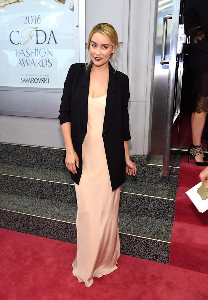 "<p>""I have always loved the simple lines of a slipdress,"" Lauren Conrad told WWD. ""I thought it would strike the perfect balance of elegance for the red carpet and the chic effortlessness of my California roots."" The look is a sneak peak at the designer and TV personality's fall 2016 line for Kohl's. <i>(Photo: Getty Images)</i><br /></p>"