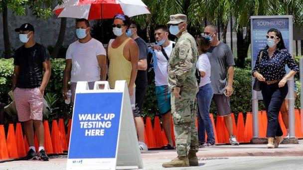 PHOTO: People are waiting in line at the COVID-19 testing site during the coronavirus pandemic on June 30, 2020 in Miami Beach, Florida (Lynn Sladki / AP)
