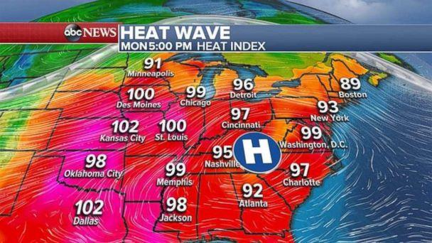 A heat wave will cover the eastern U.S. for the first three days of the work week. (ABC News)
