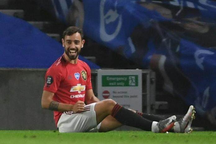 Manchester United midfielder Bruno Fernandes scored twice at Brighton