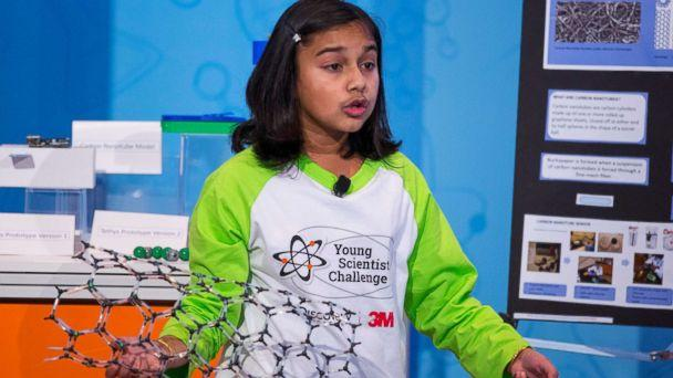 PHOTO: Gitanjali Rao presents her discovery to a panel of scientists and school officials at the 2017 Discovery Education 3M Young Scientist Challenge. (Andy King/Discovery Education 3M Young Scientist Challenge)