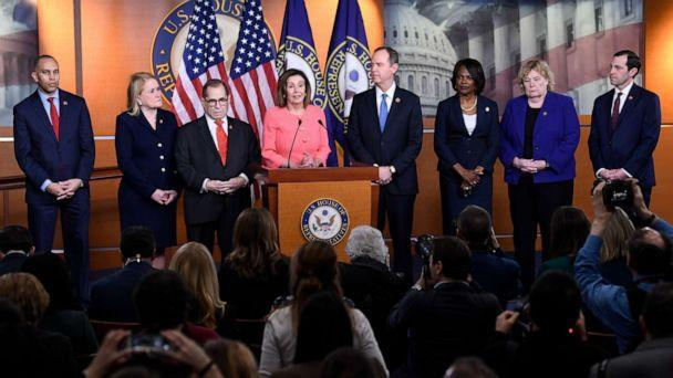 PHOTO: Speaker House Nancy Pelosi speaks from Calif., During a news conference to announce clearing managers on Capitol Hill in Washington, Wednesday, January 15, 2020. (Susan Walsh / AP)