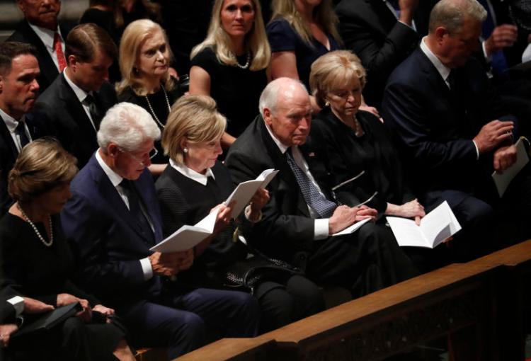 From left, former first lady Laura Bush, former President Bill Clinton, former Secretary of State Hillary Clinton, former vice president Dick Cheney and his wife Lynne and former vice president Al Gore arrive at a memorial service for Sen. John McCain, R-Ariz., at Washington National Cathedral in Washington, Saturday, Sept. 1, 2018. McCain died Aug. 25, from brain cancer at age 81. (AP Photo/Pablo Martinez Monsivais)