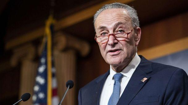 PHOTO: Senate Minority Leader Chuck Schumer holds a press conference at the U.S. Capitol, Dec. 16, 2019, in Washington, DC. (Samuel Corum/Getty Images)
