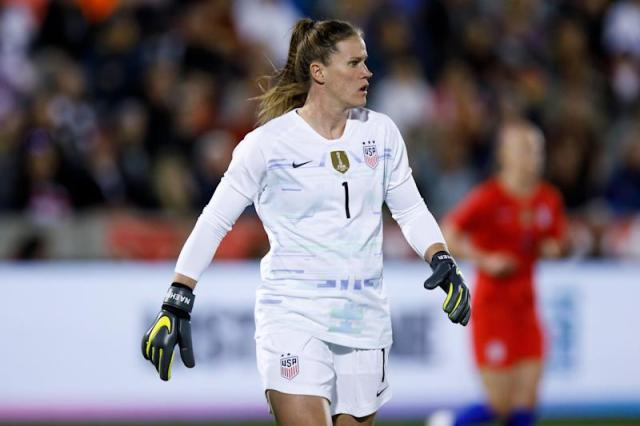 COMMERCE CITY, CO - APRIL 4: Alyssa Naeher #1 of the United States in action during an international friendly against Australia at Dick's Sporting Goods Park on April 4, 2019 in Commerce City, Colorado. The United States defeated Australia 5-3. (Photo by Justin Edmonds/Getty Images)