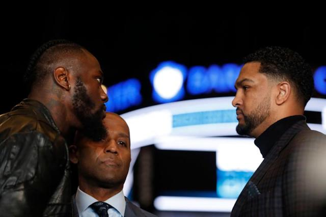 NEW YORK, NEW YORK - MARCH 19: Deontay Wilder faces off with Dominic Breazeale during a press conference at Barclays Center on March 19, 2019 in the Brooklyn borough of New York City. (Photo by Michael Owens/Getty Images)