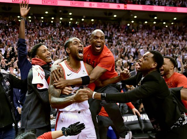 Kawhi Leonard let it all out in Game 7. (Frank Gunn/The Canadian Press via AP)