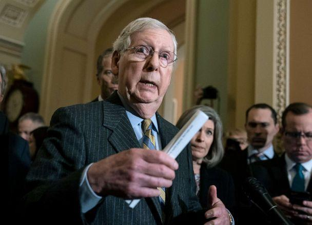 PHOTO: Senate Majority Leader Mitch McConnell meets with reporters as Parliament prepares to send impeachment proceedings against President Donald Trump to the Senate at the Washington Capitol on January 14, 2020. (J. Scott Applewhite / AP)