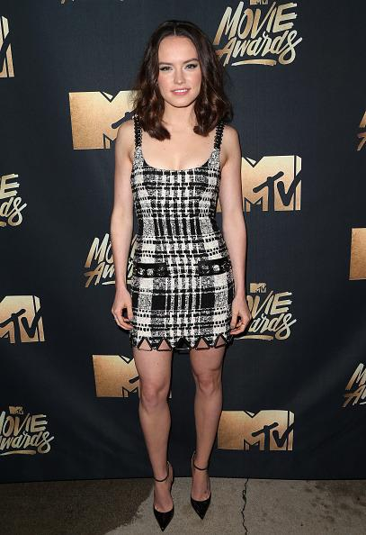 Daisy Ridley in a black and white mini-dress that Cher Horowitz would've loved