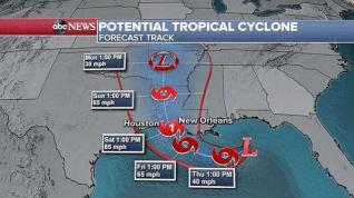 PHOTO: Forecast track for potential tropical cyclone. (ABC News)