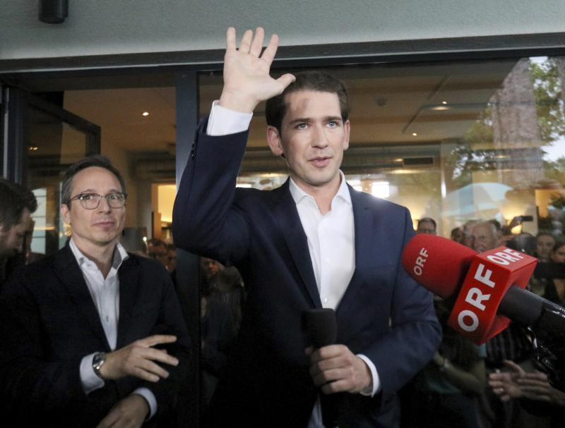 Austrian Chancellor Sebastian Kurz waves to his supporters at the political headquarters of Austrian People's Party, OEVP, in Vienna, Austria, Monday, May 27, 2019. Chancellor Sebastian Kurz's center-right party recorded a big win in European elections, but he was ousted Monday following the collapse of his scandal-tainted coalition. (AP Photo/Ronald Zak)