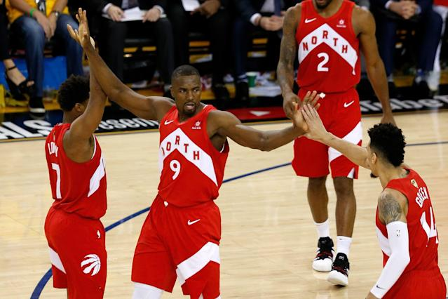 Serge Ibaka (9) and the Toronto Raptors know how dangerous the Warriors still are, even down 3-1 in the NBA Finals. (Getty)