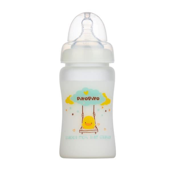 黃色小鴨360°矽膠防護寬口徑玻璃奶瓶180ml 830597