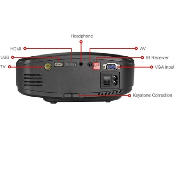 CHEERLUX C6 Mini LED Projector & AS TV 800x480 1200Lm EU Plug