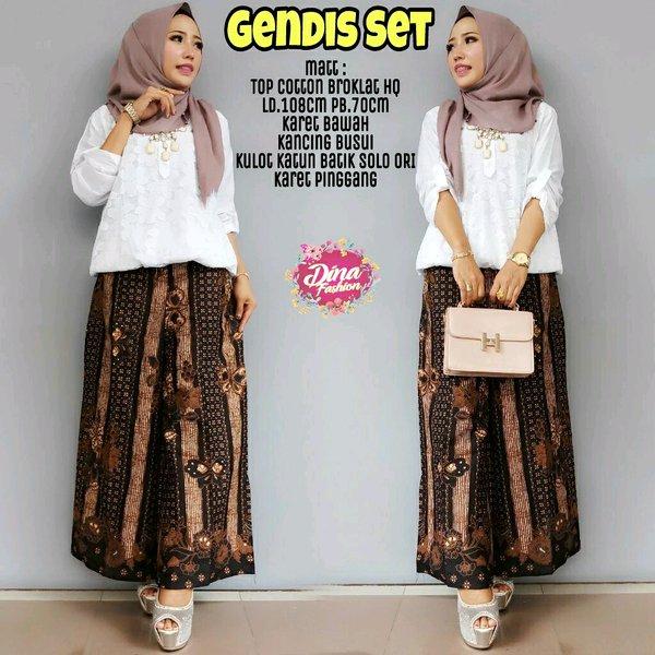 Setelan kulot batik solo Jumbo setelan brukat setelan modern setelan celana blouse batik solo Brukat Putih