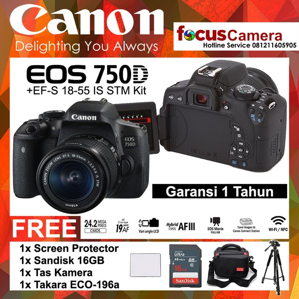 Canon 750D - EF-S 18-55 IS STM Kit - Screen - Sandisk Ultra 16Gb - Tas kamera - Tripod Takara Eco-196a