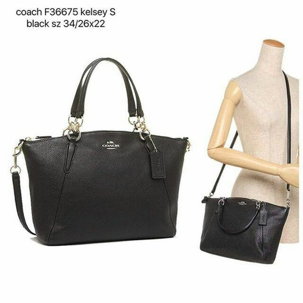 Coach Small Kelsey Black Pebble Leather NWT Tas Branded Original