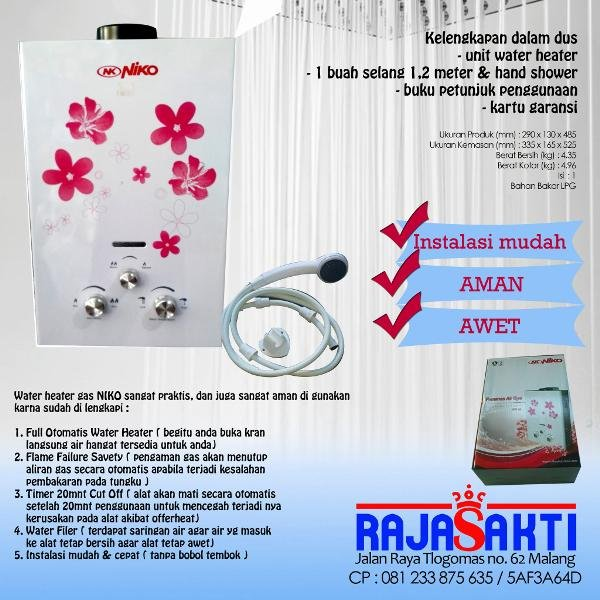 ALAT TRENDY Water heater gas niko pemanas air murah hemat