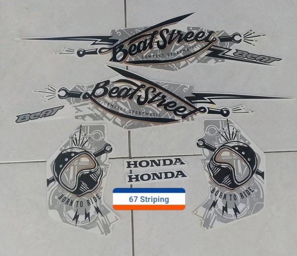 Stiker Striping Motor Honda Beat Street 2017 Putih