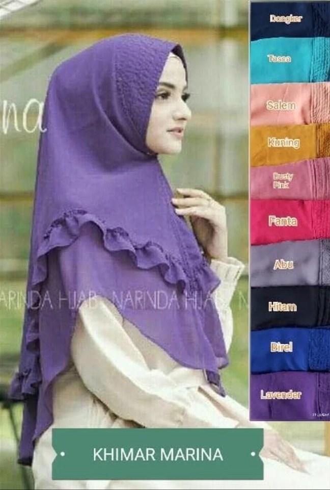 Model Fashion Hijab - Kerudung Khimar Marina Syar i Murah Recommended