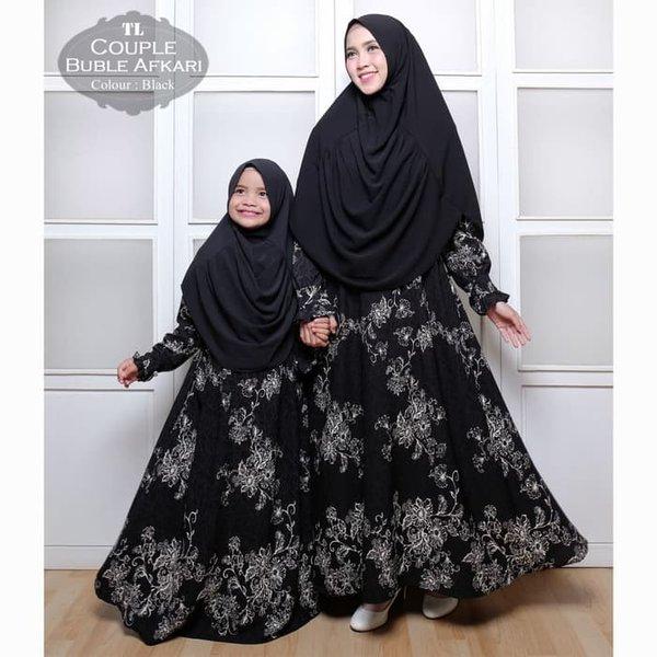 Baju Busana Muslim Gamis Couple Ibu Dan Anak Bubble Afkari Black