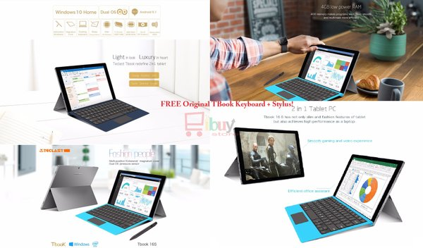 Teclast Tbook 16S 2 in 1 Tablet PC 11,6 inch Windows 10 + Android 5.1 Intel Cherry Trail Z8300 64bit Quad Core 1.44GHz 4GB RAM 64GB ROM - GRAY (FREE Keyboard + Stylus)