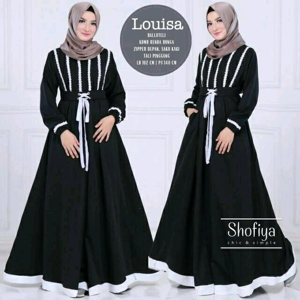 LOUISA DRESS Gamis syari original long dress maxi muslimah busui ori shofiya