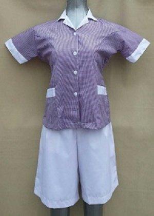 Baju Suster / Seragam Baby Sitter Celana Kulot Putih Baju Ungu Kotak-Kotak Variasi Putih