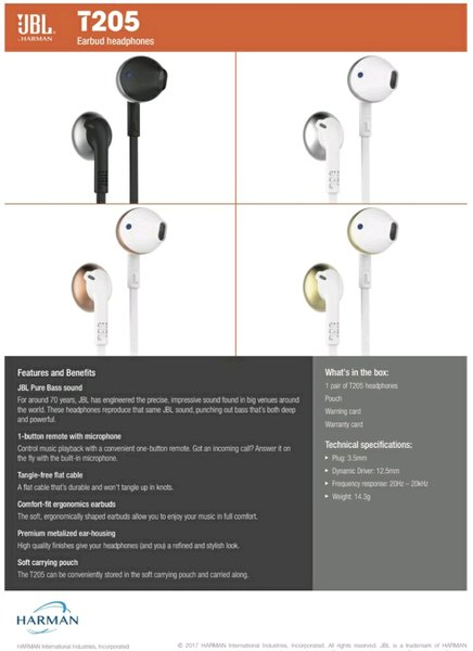 JBL T205 earphone