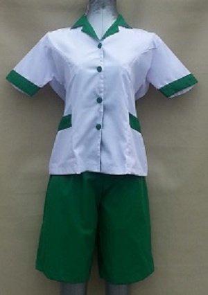 Baju Suster / Seragam Baby Sitter Celana Kulot Hijau Baju Putih Variasi Hijau