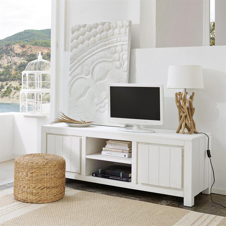 meuble tv en bois massif blanc l 145 cm