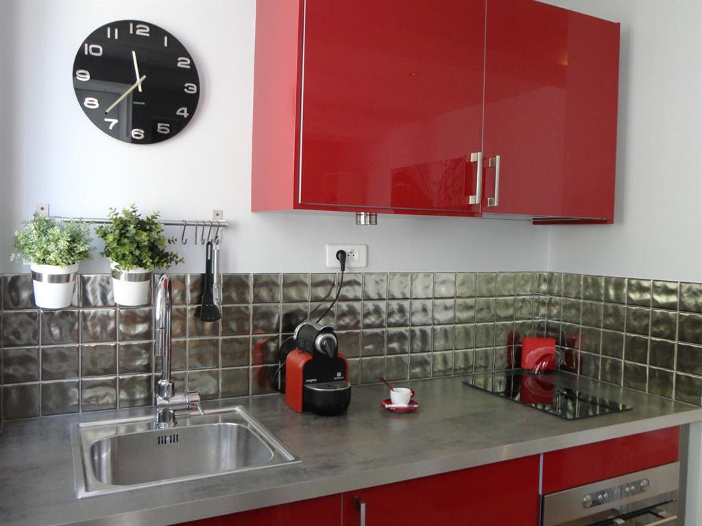 cuisine moderne rouge et grise detail