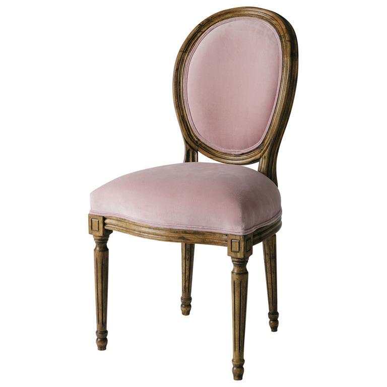 chaise medaillon en velours rose louis