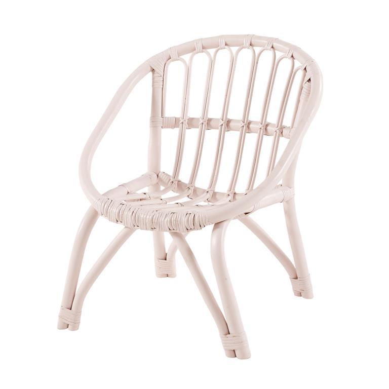 chaise enfant en rotin rose clair plume