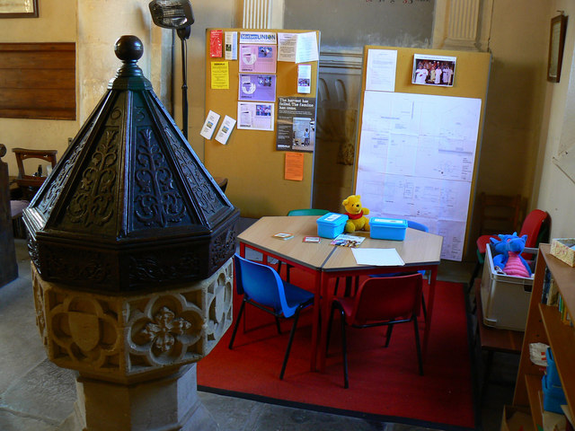 Font and play area, All Saints' Church, All Cannings