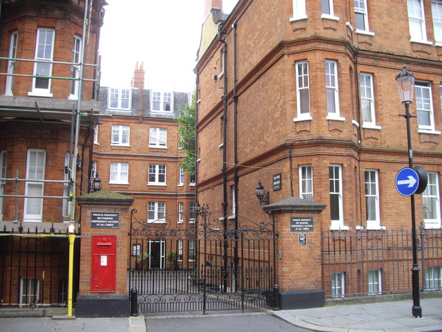 Victorian postbox at entrance to Elm Park Mansions, Park Walk Chelsea