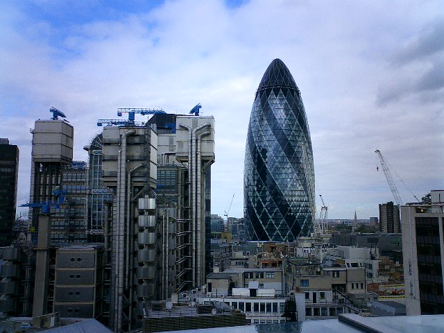 """The Gherkin"" and Lloyds Building"