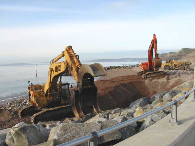 Construction of sea defences, West Bay