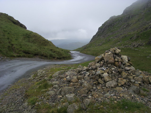 Cairn at the summit of Hardknott Pass