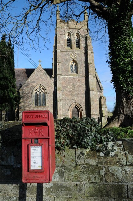 Letter box and Wychbold church © Philip Halling :: Geograph