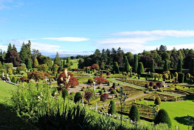 View over Drummond Castle gardens