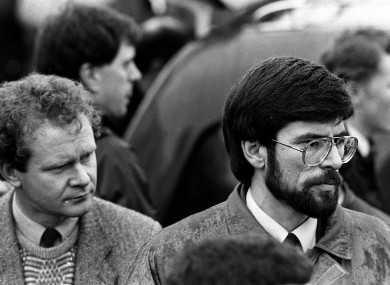 Gerry Adams and Martin McGuinness in 1988, two years before Thatcher left power.