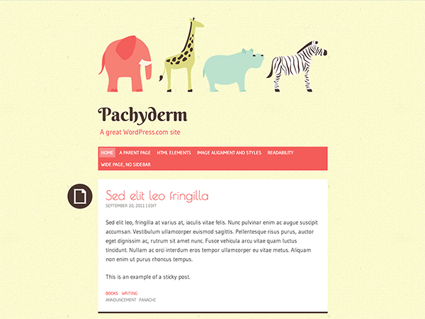 Free WordPress Theme: Original Pachyderm Theme