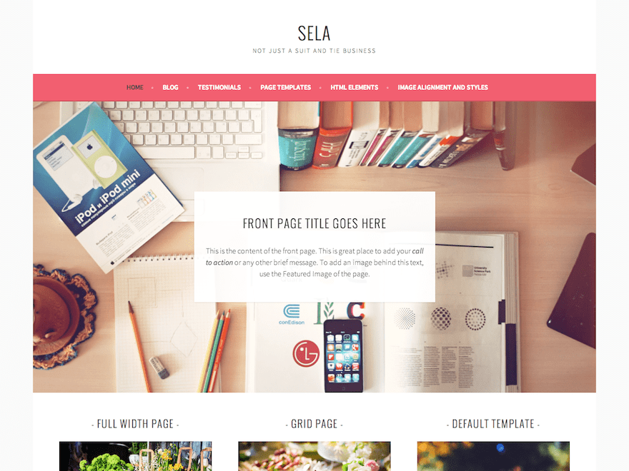 Sela theme for Wordpress theme with multiple page templates