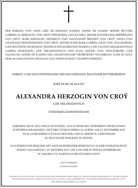 Alexandra Herzogin von Croy