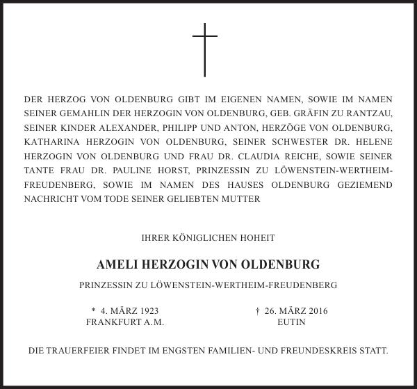 AMELI HERZOGIN VON OLDENBURG
