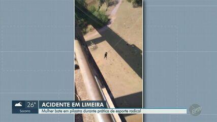 Mulher fica ferida após bater em pilastra durante pulo de rope jump em Limeira