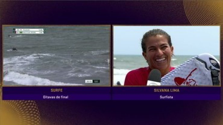 """Empolgada, Silvana Lima comemora classificação para quartas de final no surfe e fala sobre confronto contra tetracampeã mundial: """"Algumas favoritas acabaram perdendo"""""""