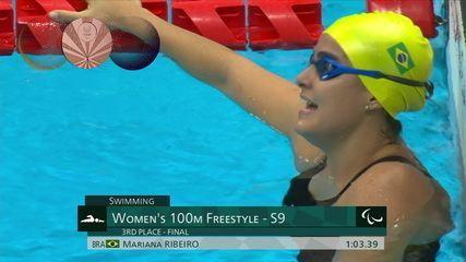 Mariana Ribeiro takes bronze in the 100m freestyle S9 - Tokyo Paralympics