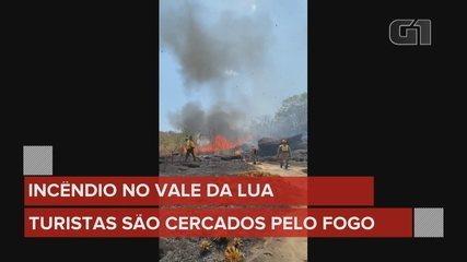 Fire leaves tourists isolated in Vale da Lua, in Alto Paraíso de Goiás